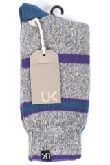 Mens 1 Pair Urban Knit Cashmere Rugged Stripe Socks 50% OFF