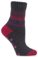 Ladies 1 Pair Elle Fair Isle Patterned Slipper Socks In 2 Colours