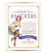 Ladies 1 Pair Kinky Knickers Black And Oyster Handmade In The UK Scalloped Lace Trim Knickers Packaging Image