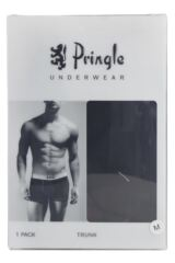 Mens 1 Pack Pringle Harry Contrast Waist Band Hipster Boxer Shorts In Black and Raspberry