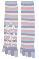 Ladies 1 Pair Elle Striped Angora Toe Socks
