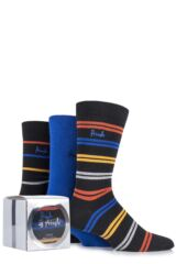 Mens 3 Pair Pringle Gift Boxed Kentallen Plain and Striped Cotton Socks