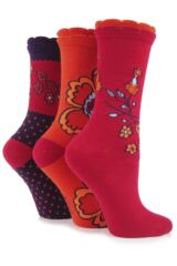 Ladies 3 Pair Elle Patterned Cotton Socks In 12 Colours