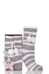 Ladies 1 Pair Totes Fleece Lined Striped Eyelash Slipper Socks with Pom Pom