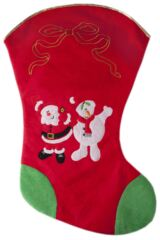 SockShop Large 75cm Christmas Stocking With Santa and Snowman Print