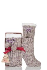 Ladies 1 Pair Totes Fleece Lined Ribbed Lurex Shine Slipper Socks with Pom Pom