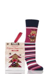 Ladies 1 Pair Totes Original Christmas Novelty Reindeer Stripe Slipper Socks with Grip