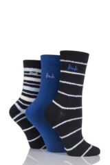 Ladies 3 Pair Pringle Kaye Feathered Stripe and Plain Cotton Socks