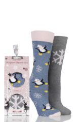 Ladies 2 Pair Totes Original Christmas Novelty Penguin and Snowflake Slipper Socks with Grip