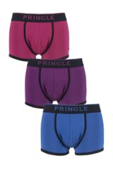 Mens 3 Pack Pringle Black Label Plain Cotton Trunks In Beetroot, Purple and Blue