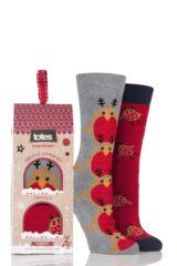 Ladies 2 Pair Totes Original Christmas Novelty Robin Slipper Socks with Grip