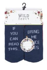 Mens 3 Pair SockShop Wild Feet If You Can Read This... Christmas Cotton Socks Packaging Image