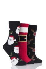 Ladies 3 Pair SockShop Santa and Rudolph Christmas Novelty Socks