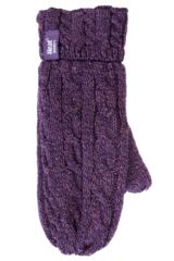 Ladies 1 Pair Heat Holders 2.5 Tog Heatweaver Yarn Mittens In Purple