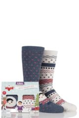 Boys and Girls 2 Pair Totes Eskimo Fairisle Original Slipper Socks with Grip