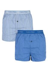 Mens 2 Pack Calvin Klein Check and Striped Woven Boxer Shorts