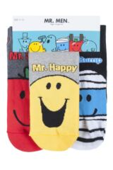 Mens 3 Pair SOCKSHOP Mr Men Mr Happy, Mr Bump. Mr Strong Cotton Socks Packaging Image