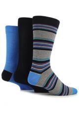 Mens 3 Pair SockShop Gentle Grip Striped Bamboo Socks In 2 Colours