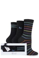 Ladies 3 Pair Pringle Gift Boxed Kathryn Plain and Striped Marl Cotton Socks