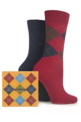 Ladies 2 Pair Burlington Cube Argyle and Plain Virgin Wool Socks Gift Box