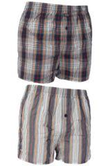 Mens 2 Pack Jockey Check and Stripe Woven 100% Cotton Boxer Shorts