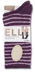 Feather Striped Socks - Plum Leading Image