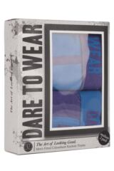 Mens 2 Pack Dare to Wear Colourburst Cobalt and Purple Fitted Keyhole Trunks 25% OFF This Style Packaging Image
