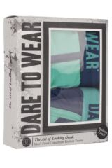 Mens 2 Pack Dare to Wear Colourburst Turquoise and Navy Fitted Keyhole Trunks 25% OFF This Style Packaging Image