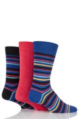 Mens 3 Pair Glenmuir Multi Stripe and Plain Bamboo Socks In Gift Box