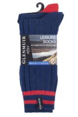 Mens 2 Pair Glenmuir Cotton Blend Cable Knit and Stripe Leisure Socks Product Shot