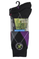 Mens 3 Pair Glenmuir Classic Bamboo Argyle Socks Packaging Image
