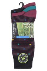 Mens 3 Pair Glenmuir Spots Bamboo Socks Packaging Image