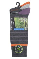 Mens 3 Pair Glenmuir Fine Stripes Bamboo Socks Packaging Image