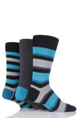 Mens 3 Pair Glenmuir Stripe and Plain Bamboo Socks