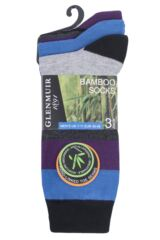 Mens 3 Pair Glenmuir Mixed Stripe Bamboo Socks Packaging Image