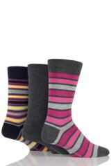 Mens 3 Pair Glenmuir Plain and Mixed Striped Bamboo Socks