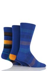 Mens 3 Pair Glenmuir Dash Stripe and Plain Bamboo Socks