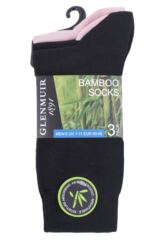 Mens 3 Pair Glenmuir Contrast Heel and Plain Bamboo Socks Packaging Image