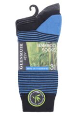 Mens 3 Pair Glenmuir Striped Black Bamboo Socks Packaging Image