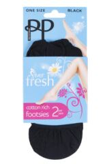 Ladies 2 Pair Pretty Polly Everyday Silver Fresh Footsie Packaging Image