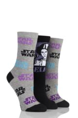 Ladies 3 Pair SockShop Star Wars Logo and Princess Leia Cotton Socks