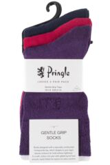Ladies 3 Pair Pringle Jean Plain Comfort Cuff Cotton Socks Packaging Image