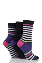 Ladies 3 Pair Pringle Fatima Mixed Stripe and Plain Cotton Socks