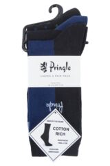 Ladies 3 Pair Pringle Lainey Block and Dot Cotton Socks Packaging Image