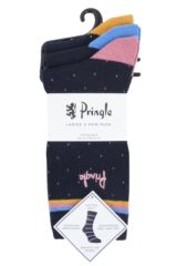 Ladies 3 Pair Pringle Candice Spots Cotton Socks Packaging Image