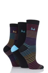 Ladies 3 Pair Pringle Mercedes Multi Stripe Cotton Socks