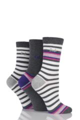 Ladies 3 Pair Pringle Isabella Striped Cotton Socks
