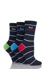 Ladies 3 Pair Pringle Molly Striped Cotton Socks