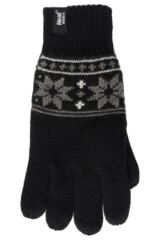 Mens 1 Pair Heat Holders 2.3 Tog Fairisle Gloves In Black