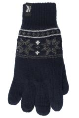 Mens 1 Pair Heat Holders 2.3 Tog Fairisle Gloves In Navy